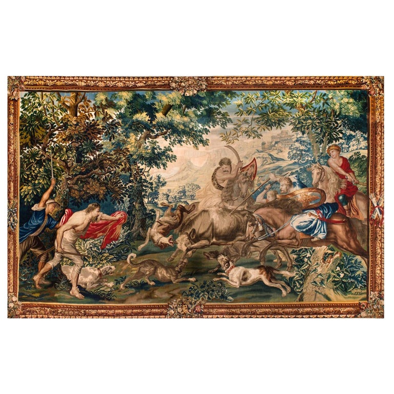 Outstanding Flemish Historical Tapestry The Bull Hunting, 17th Century For Sale