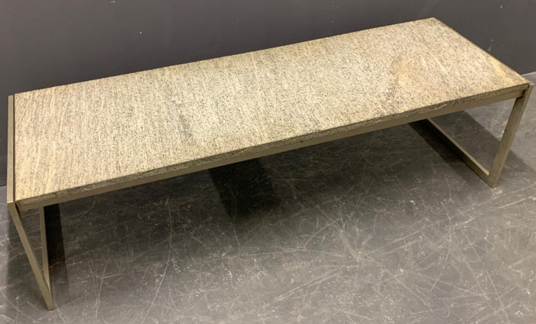 Scandinavian Modern Outstanding Flint Rolled Marble Coffee Table or Bench For Sale