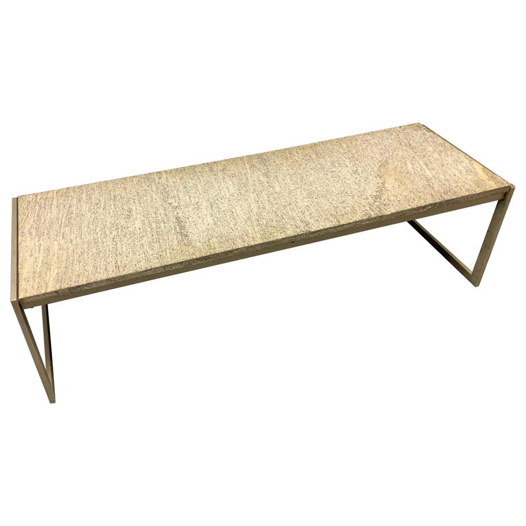 Outstanding Flint Rolled Marble Coffee Table or Bench For Sale