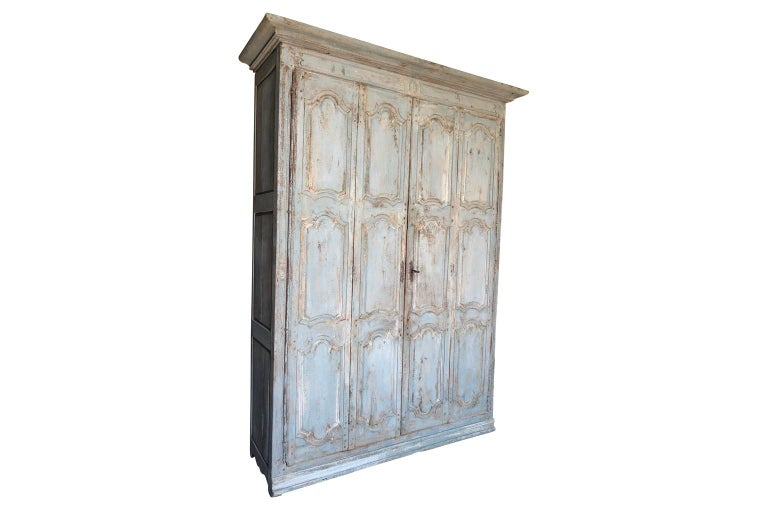 Outstanding French Louis XIV Period Painted Armoire In Good Condition In Atlanta, GA