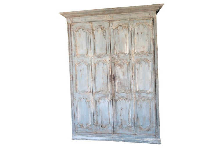 17th Century Outstanding French Louis XIV Period Painted Armoire