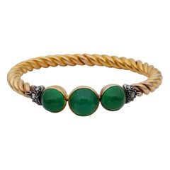 Outstanding French Retro 18 Carat Green Chrysoprase Diamond 18 Karat Gold Bangle