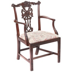 Outstanding George III Carved Mahogany Elbow Chair