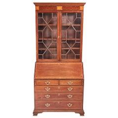Outstanding George III Inlaid Mahogany Bureau Bookcase