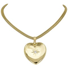 Outstanding Gold Heart Locket and Chain