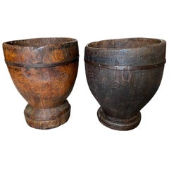 Outstanding Grand Scale Pair of 18th Century Wooden Pots