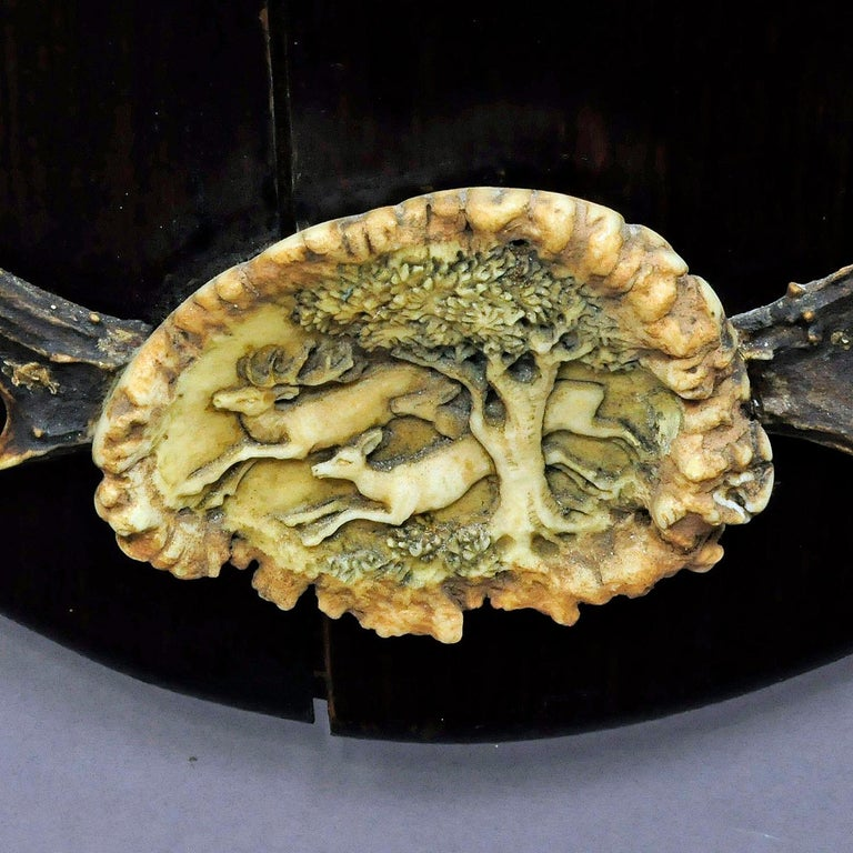 Outstanding Hunting Wall Mirror with Trophies, circa 1910 For Sale 4