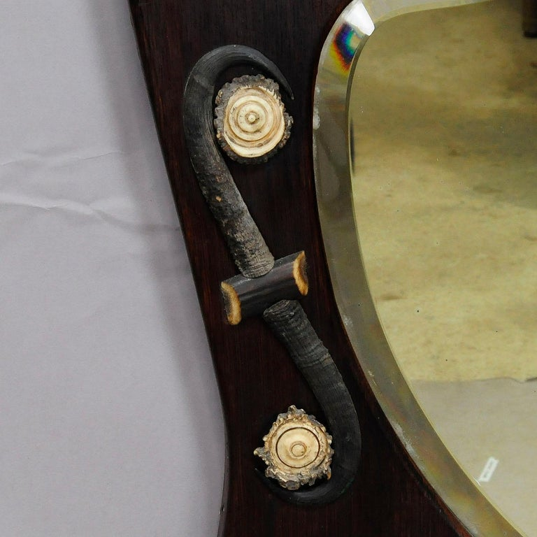 Black Forest Outstanding Hunting Wall Mirror with Trophies, circa 1910 For Sale