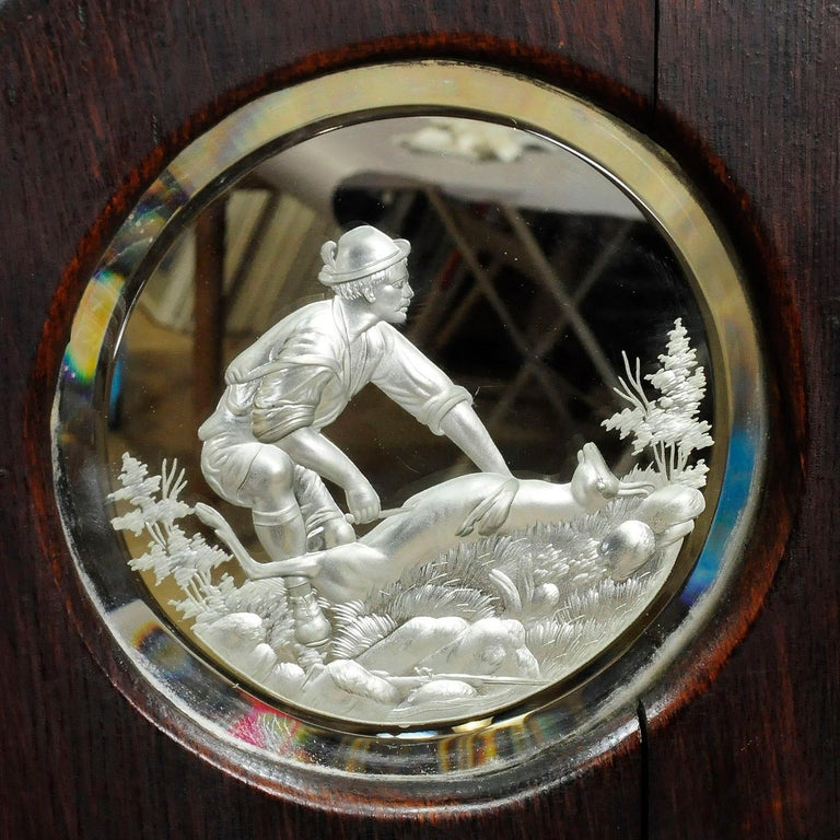 German Outstanding Hunting Wall Mirror with Trophies, circa 1910 For Sale