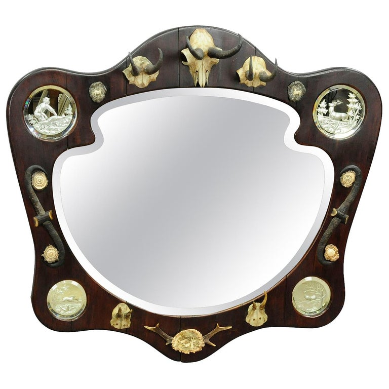 Outstanding Hunting Wall Mirror with Trophies, circa 1910 For Sale