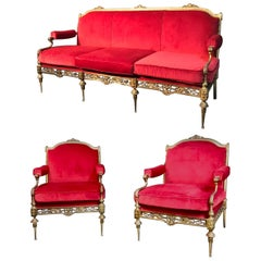 Outstanding Italian Midcentury Brass and Red Velvet Living Room Set, 1950