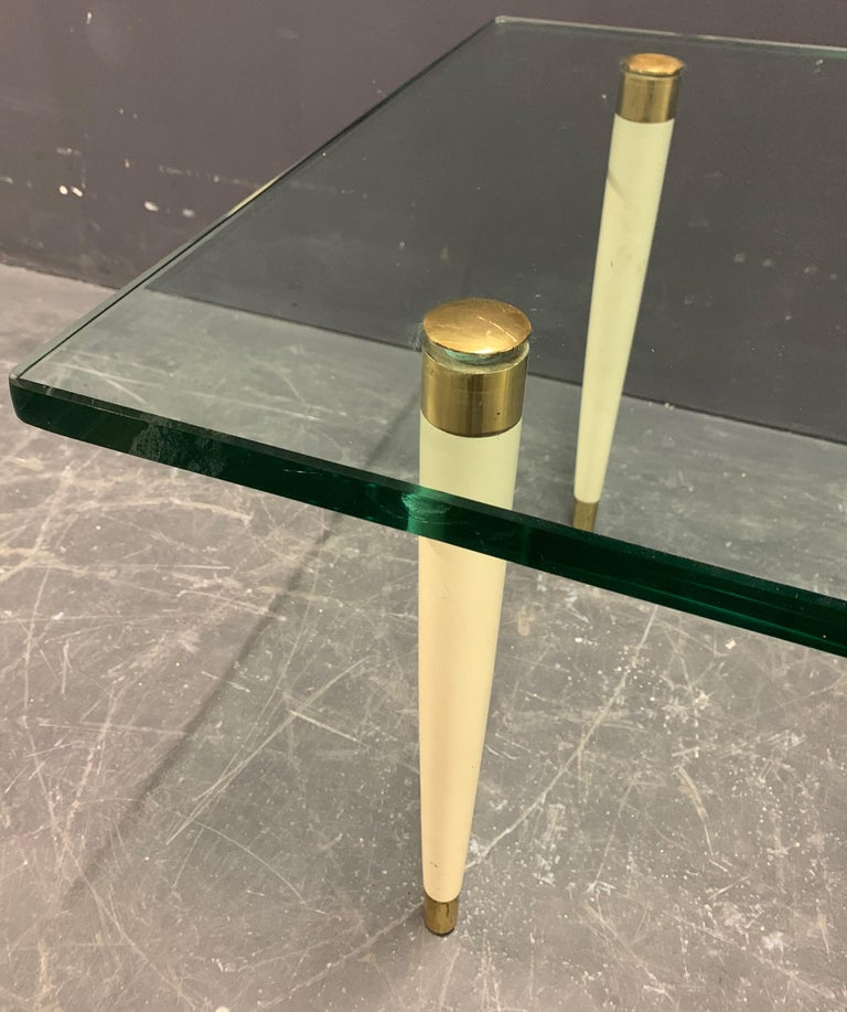 Outstanding Italien Coffee Table with Massive Glass Top by Fontana Arte In Good Condition For Sale In Munich, DE