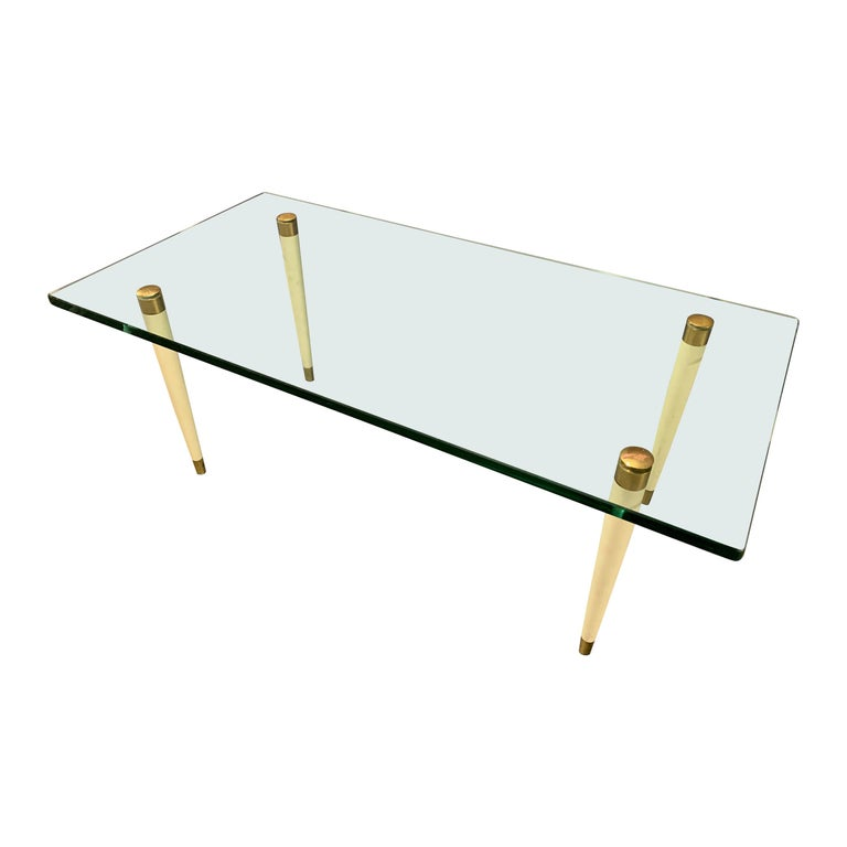 Outstanding Italien Coffee Table with Massive Glass Top by Fontana Arte For Sale