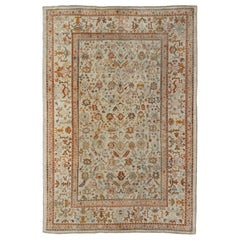 Outstanding Ivory Background Antique Turkish Oushak Rug in Multi-Colors