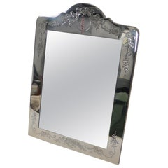 Outstanding Large Engraved Sterling Silver Photograph Frame, 1908