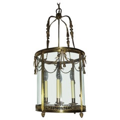 Outstanding Large French Gilt Bronze Ribbon Bow Lantern Fine Chandelier Fixture