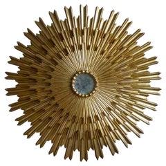 Outstanding Large Gilded Triple Layered Sunburst Mirror, Spain, 1950
