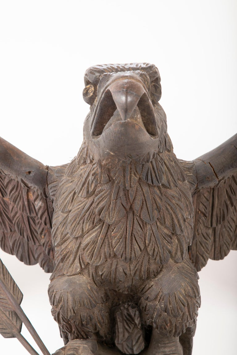 19th Century Outstanding Large Oak Carved Eagle Grasping Shield & Three Arrows For Sale