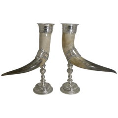 Outstanding Large Pair of Horn and Silver Plate Cornucopia, circa 1900