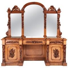 Outstanding Large Victorian Carved Oak Mirror Back Sideboard