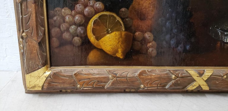 American Late 19th Century Still Life With Fruit Oil Painting, circa 1880 For Sale
