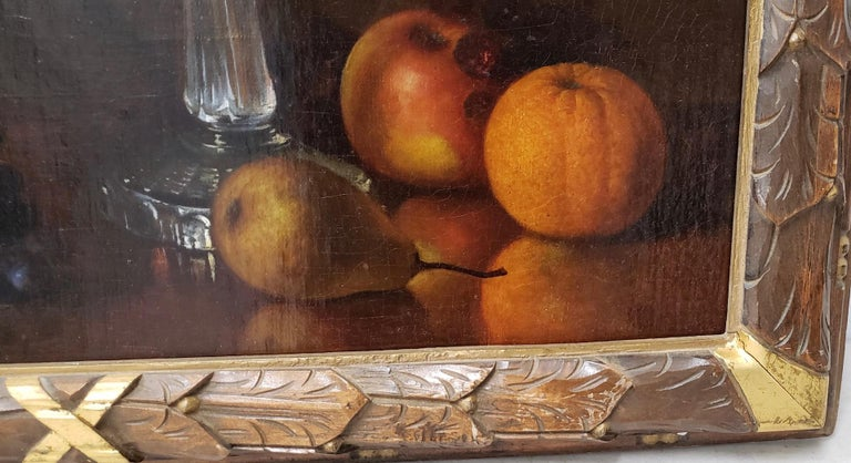 Canvas Late 19th Century Still Life With Fruit Oil Painting, circa 1880 For Sale