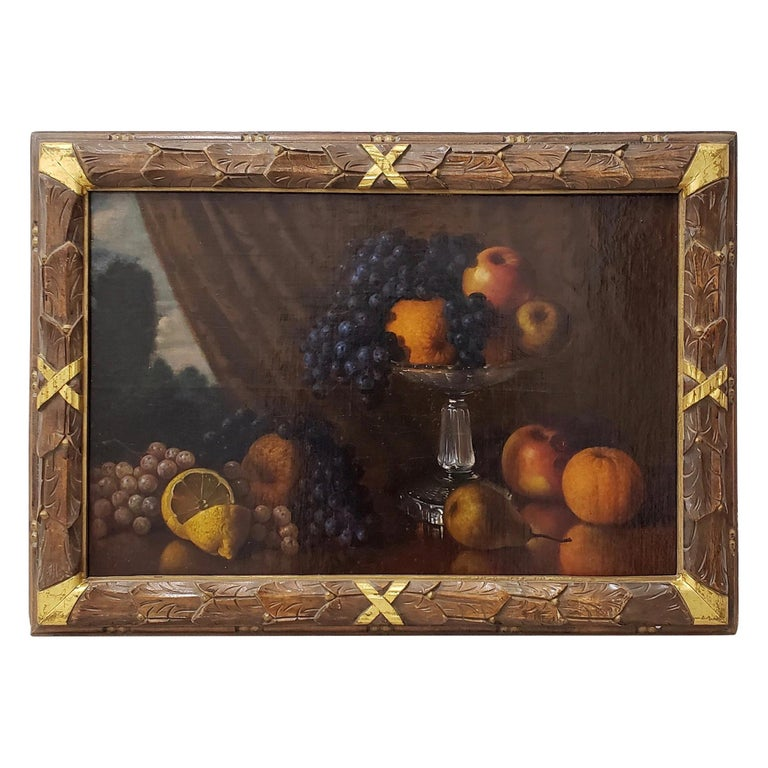 Late 19th Century Still Life With Fruit Oil Painting, circa 1880 For Sale