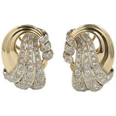 Outstanding Late Deco 4.0 Carat Old Mine Diamond Large Bow Earrings