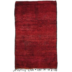 Outstanding Mid-Century Modern Moroccan Berber Monochrome Red Beni Mguild Rug