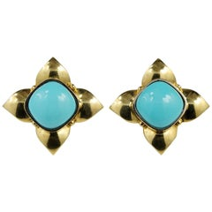 Outstanding Natural Persian Turquoise Solitaire Earrings