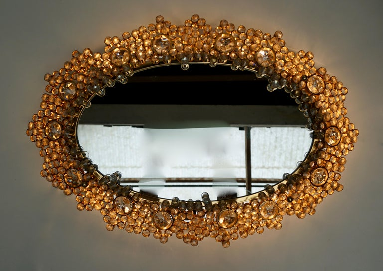Hollywood Regency Outstanding Oval Illuminated Palwa Crystal Glass Mirror For Sale