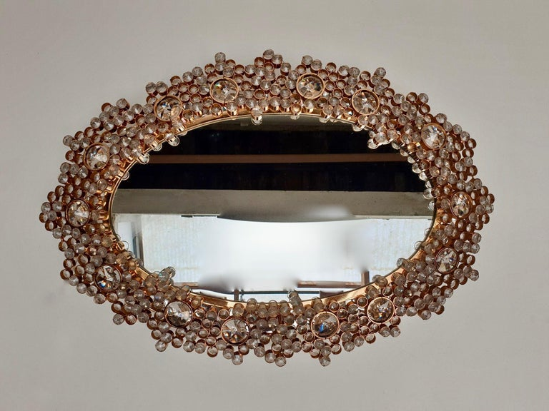 German Outstanding Oval Illuminated Palwa Crystal Glass Mirror For Sale