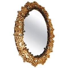 Outstanding Oval Illuminated Palwa Crystal Glass Mirror