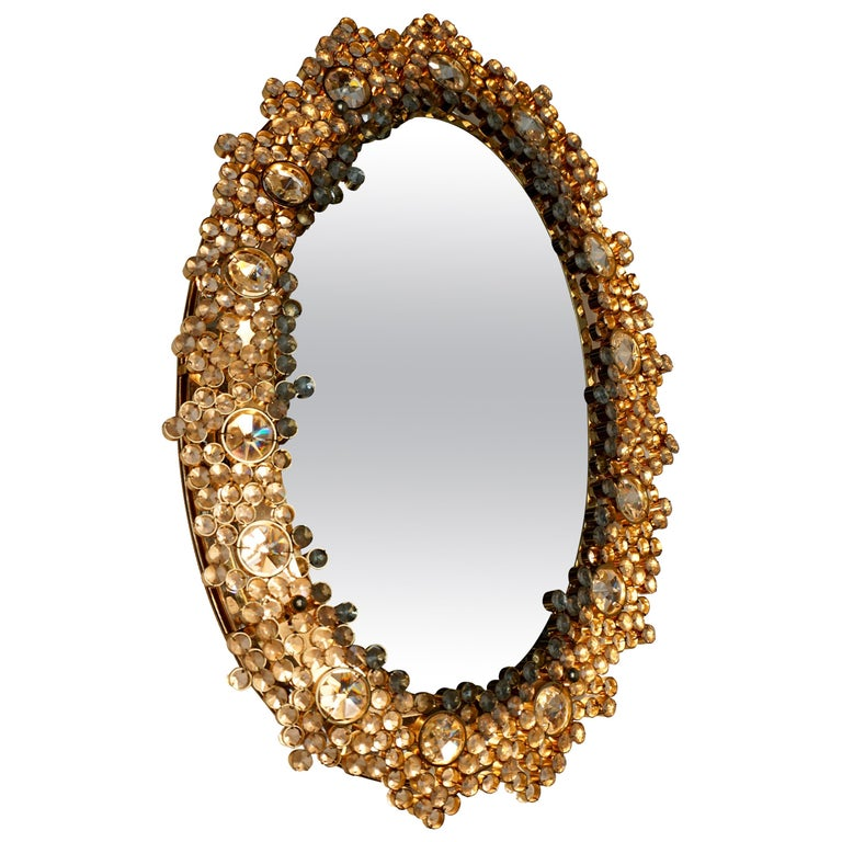 Outstanding Oval Illuminated Palwa Crystal Glass Mirror For Sale