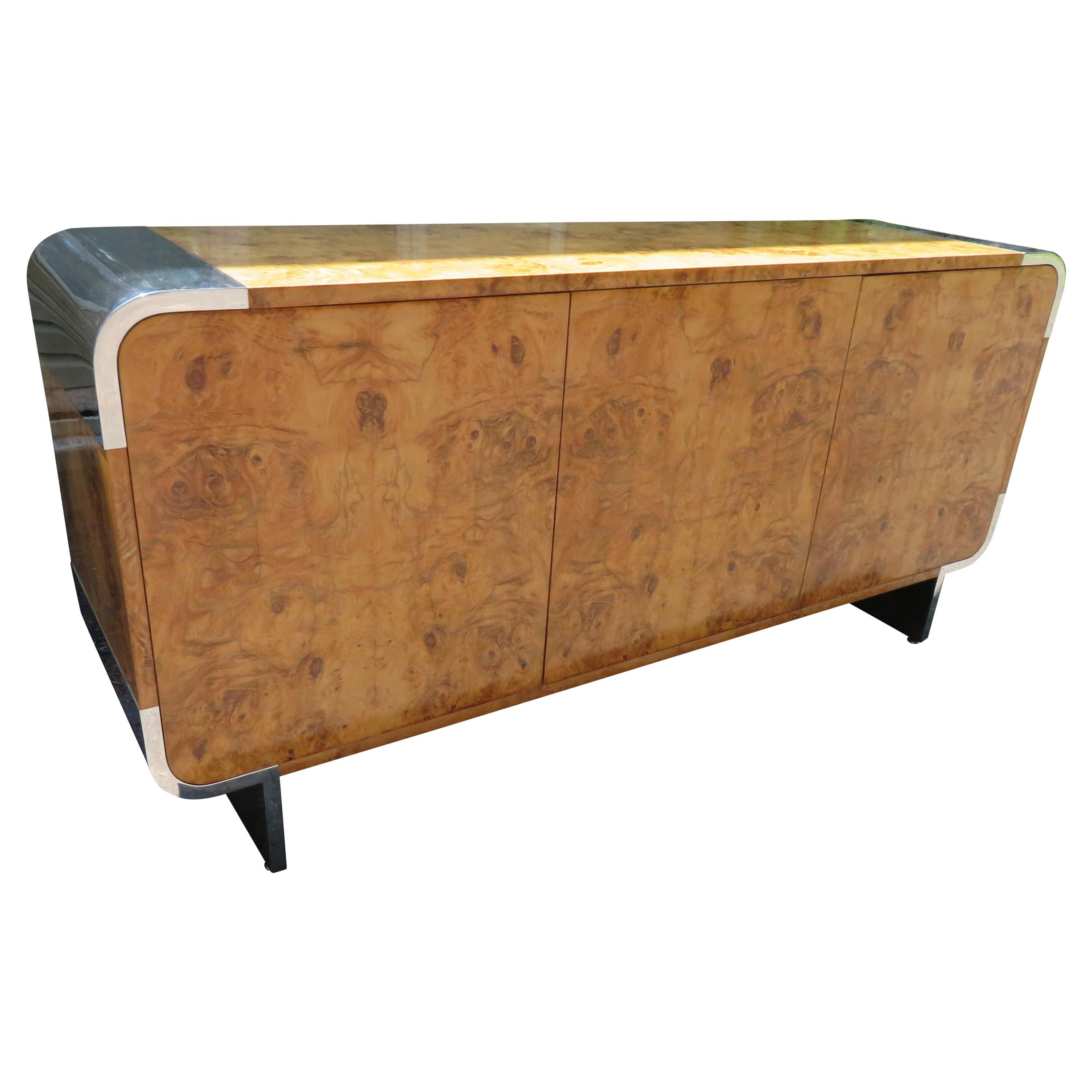 Outstanding Pace Collection Burl and Chrome Credenza Leon Rosen