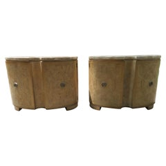 """Outstanding Pair Drexel-Heritage """"Insignia"""" Ash Burl Travertine Bachelors Chests"""