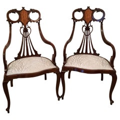 Outstanding Pair of 19th Century Victorian Antique Mahogany Inlaid Armchairs