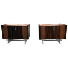 Outstanding Pair of Mid-Century Modern Zebrawood Chrome and Lucite Cabinets