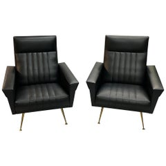Outstanding Pair of Mid-Century Modernist Armchairs Attributed To Zanuso