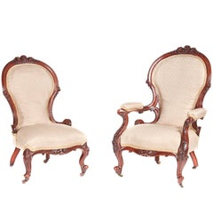 Outstanding Pair of Victorian Carved Walnut Chairs