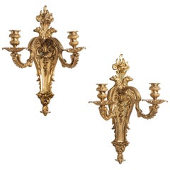Outstanding Pair or Ormolu Wall Lights