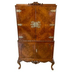 Outstanding Quality Antique Burr Walnut Cocktail Cabinet