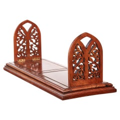 Outstanding Quality Antique Large Solid Walnut Victorian Sliding Bookends