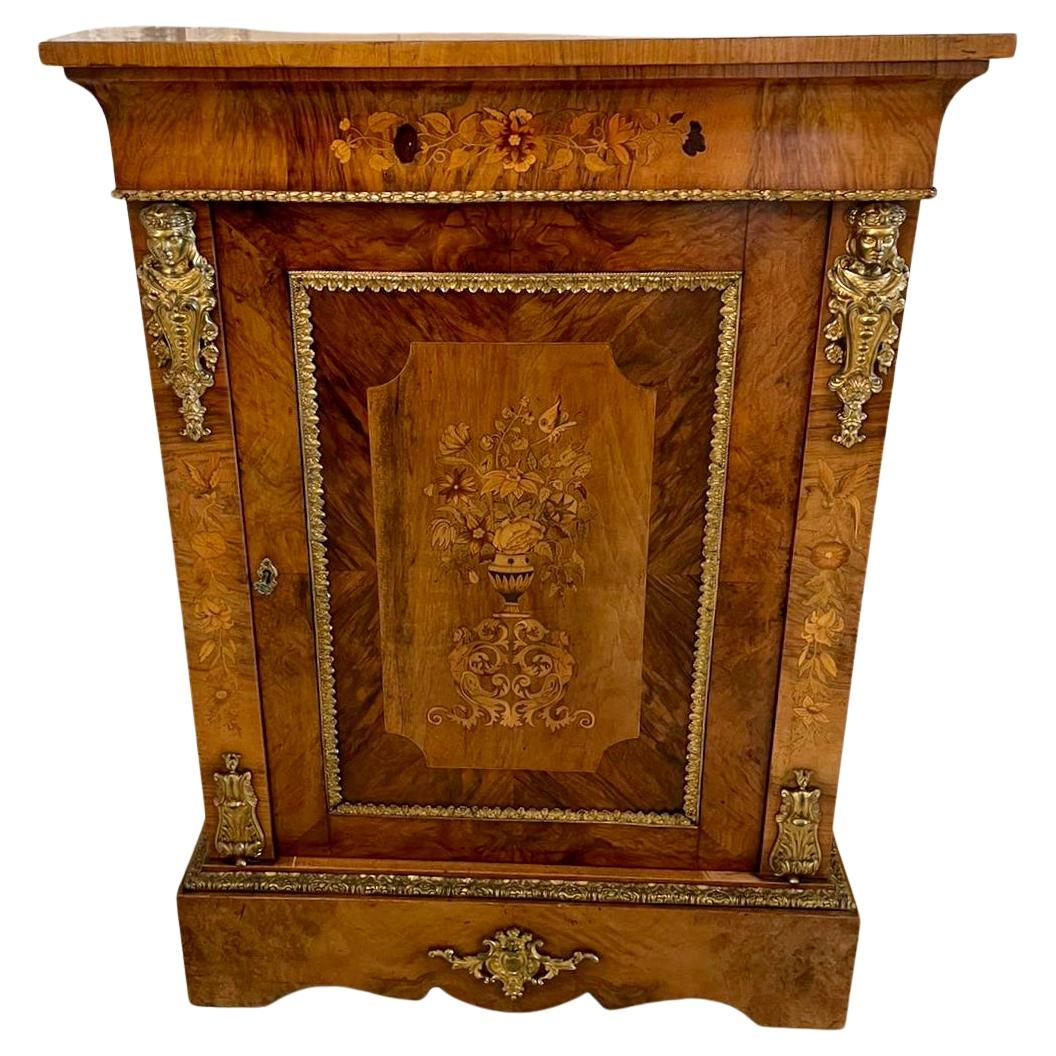 Outstanding Quality Antique Victorian Burr Walnut Marquetry Inlaid Side Cabinet