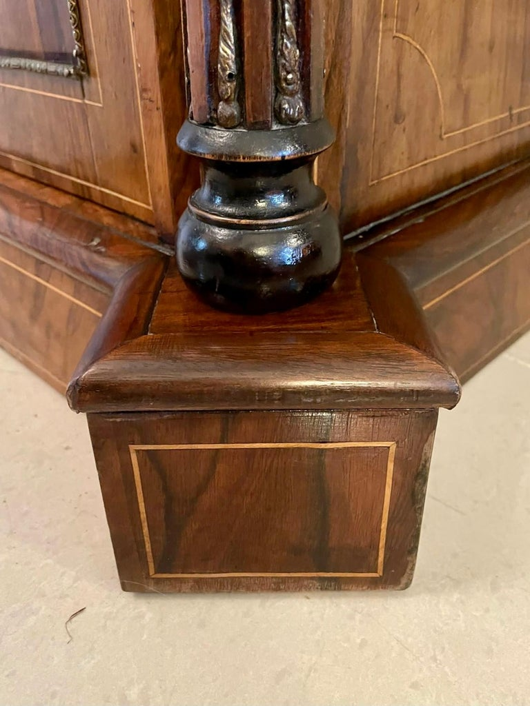 Outstanding Quality Antique Victorian Inlaid Burr Walnut Side Cabinet For Sale 8