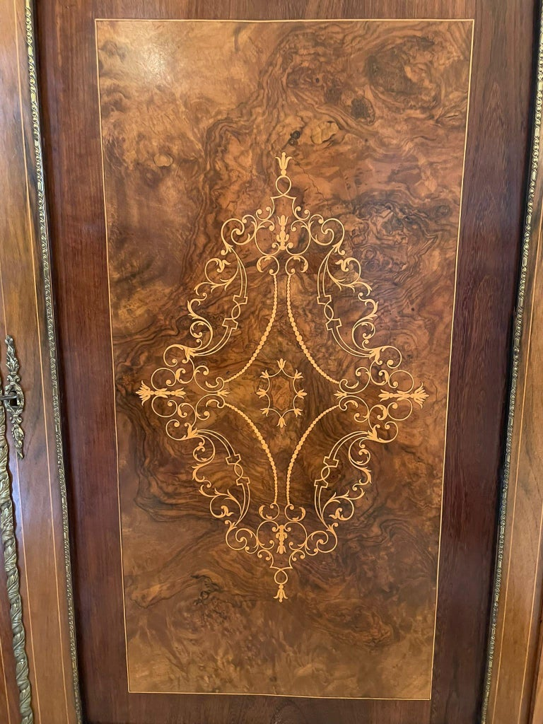 Outstanding Quality Antique Victorian Inlaid Burr Walnut Side Cabinet For Sale 9