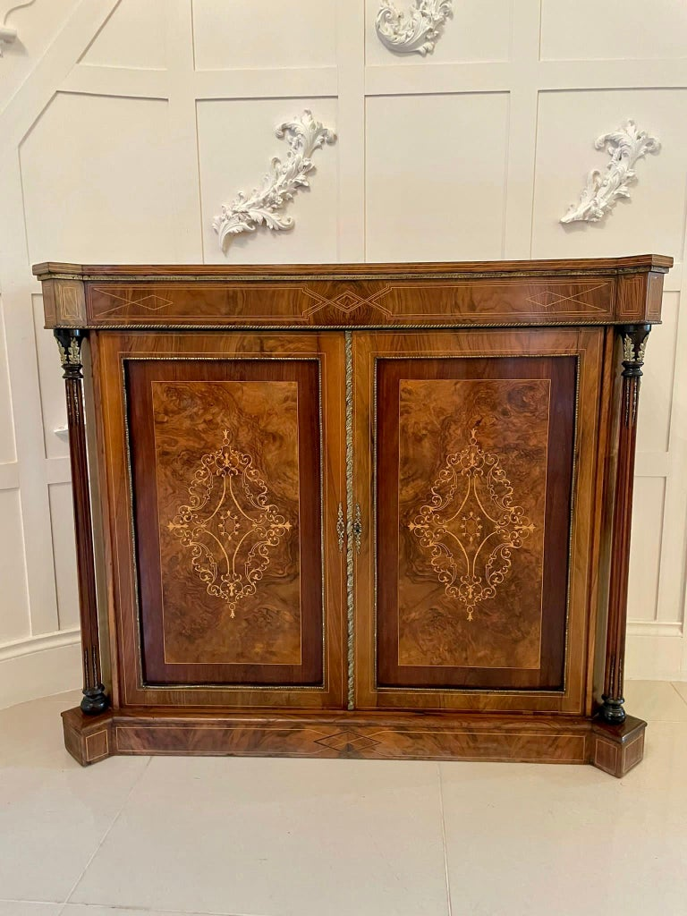 Outstanding Quality Antique Victorian Inlaid Burr Walnut Side Cabinet For Sale 12
