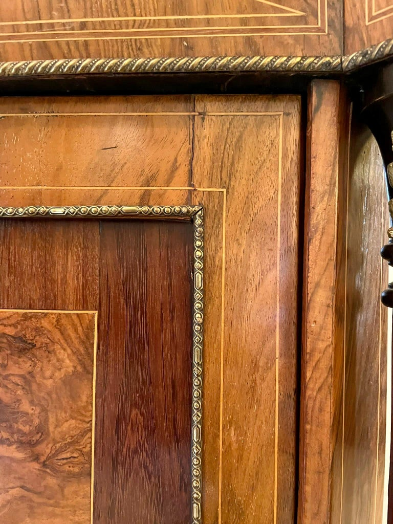 Outstanding Quality Antique Victorian Inlaid Burr Walnut Side Cabinet For Sale 2