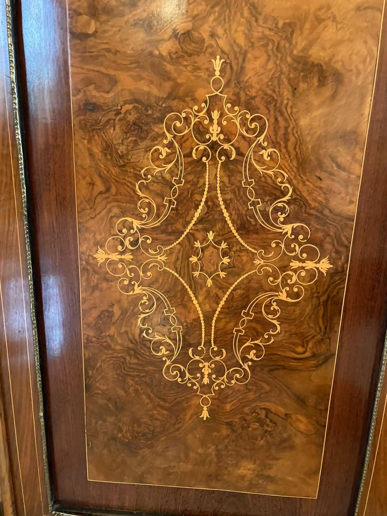 Outstanding Quality Antique Victorian Inlaid Burr Walnut Side Cabinet For Sale 3
