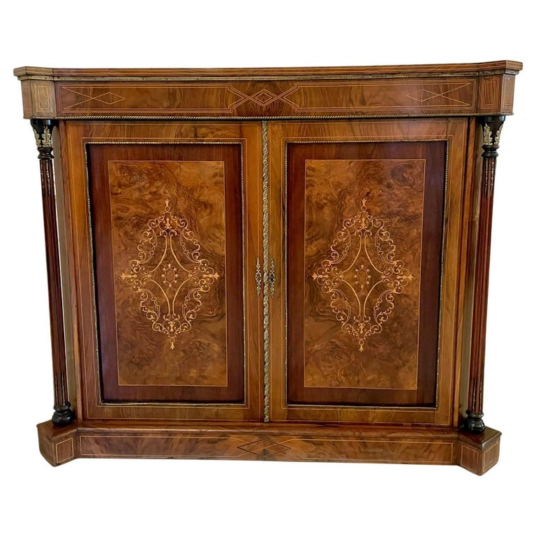 Outstanding Quality Antique Victorian Inlaid Burr Walnut Side Cabinet For Sale